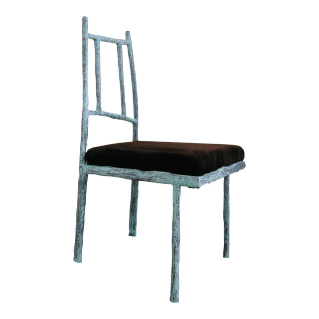 Sculptural Ceramic and Steel Side/Dining Chair With Recycled Fur Upholstered Seat by Zuckerhosen For Sale