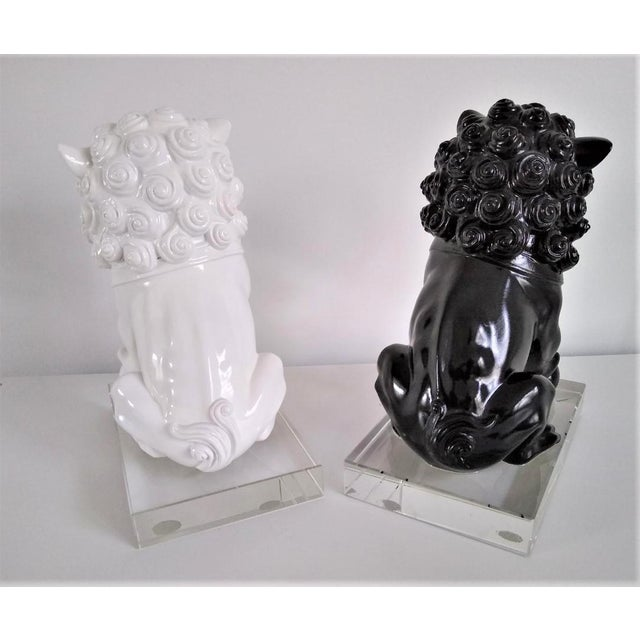 White Ceramic Vintage Foo Dogs on Lucite Bases - Pair For Sale - Image 8 of 13