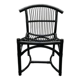 Mid-20th Century Rattan Black Side Chair For Sale