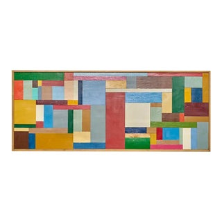 Large 1970s Mondrian Style Art Assemblage Wood Painting For Sale