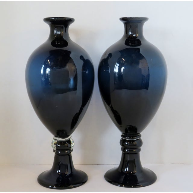 Midnight Blue Glass Urn Vases, a Pair For Sale In Los Angeles - Image 6 of 6