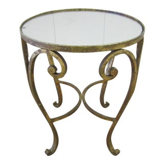 20th Century Hollywood Regency Gilt Bronze & Mirror Side Table For Sale