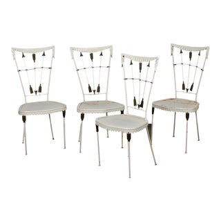 1940s Vintage Tomaso Buzzi Italian Wrought Iron Arrow Chairs- Set of 4 For Sale