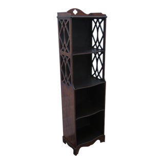 Narrow Mahogany Bookcase Shelf Display Etagere Cabinet Cupboard For Sale