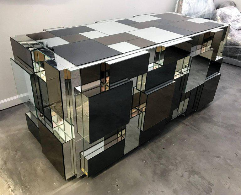 Modern Paul Evans Style Mirrored Dining Table Base For Sale   Image 3 Of 6