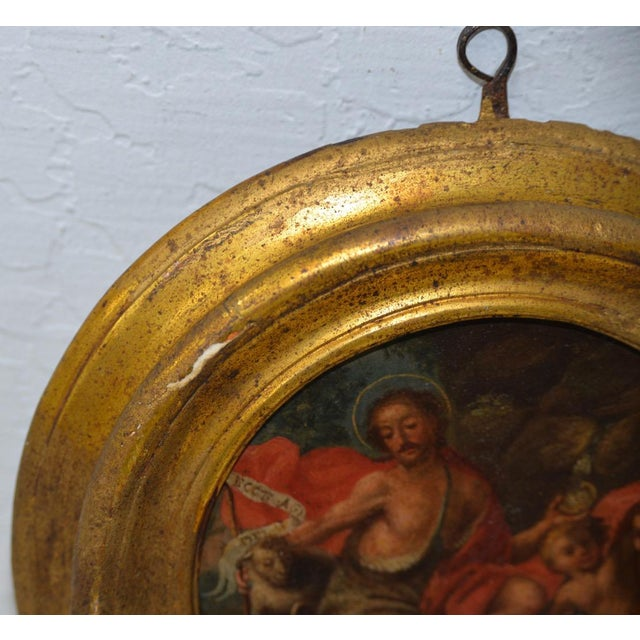 17th Century Italian School 17th C. Circular Painting of John the Baptist Embracing the Angus Dei W/ Two Angels For Sale - Image 5 of 8