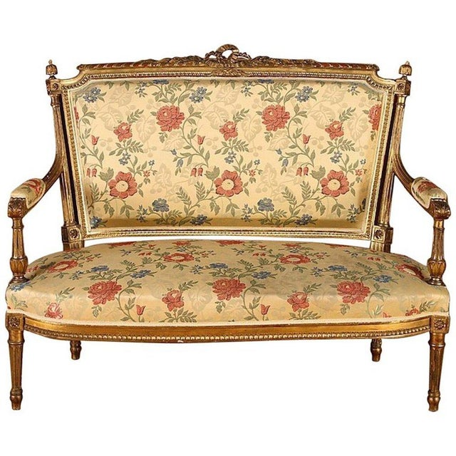 "Set of 5, French Giltwood Louis XVI Style Settee and 4 French Gilt Wood Open Arm Chairs. Settee: Ht: 41"" Wd: 50"" Dpth: 25""..."