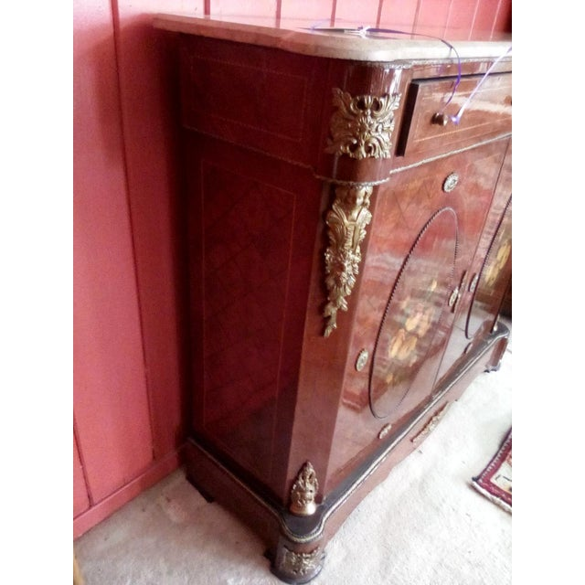 1960 French Server With Painted Floral Motif For Sale In San Antonio - Image 6 of 11