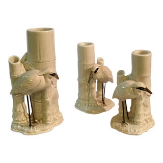 Vintage Fitz and Floyd Heron Candle Holders and Vase - Set of 3 For Sale