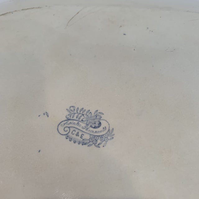 Mid 19th Century Antique Blue and White C & E Asiatic Pheasants Platter For Sale - Image 5 of 7
