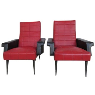 Vintage Faux Red Leather Chairs - A Pair For Sale