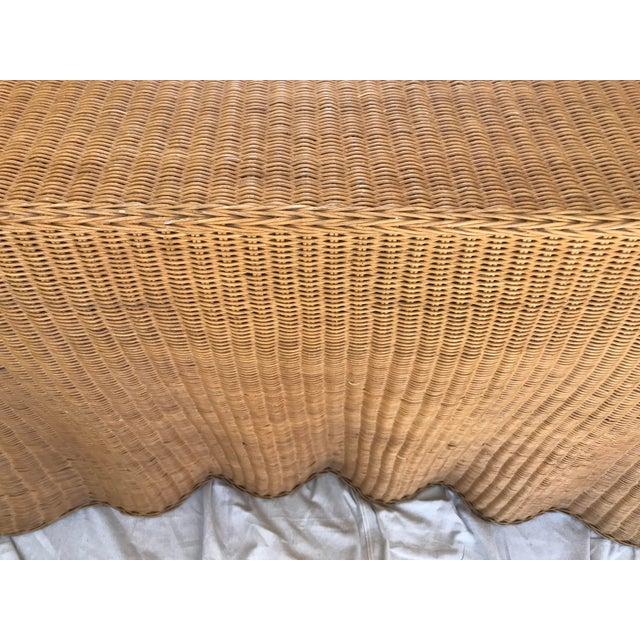 "1980s Trompe l'Oeil ""Drape"" Wicker Ghost Console Table For Sale - Image 5 of 11"