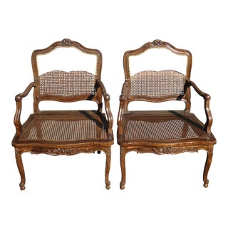 Vintage French Country Carved Wood & Cane Accent Chairs - A Pair