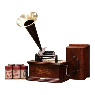 19th Century Graphophone by the Columbia Phonograph Co. With Casing and Rolls For Sale