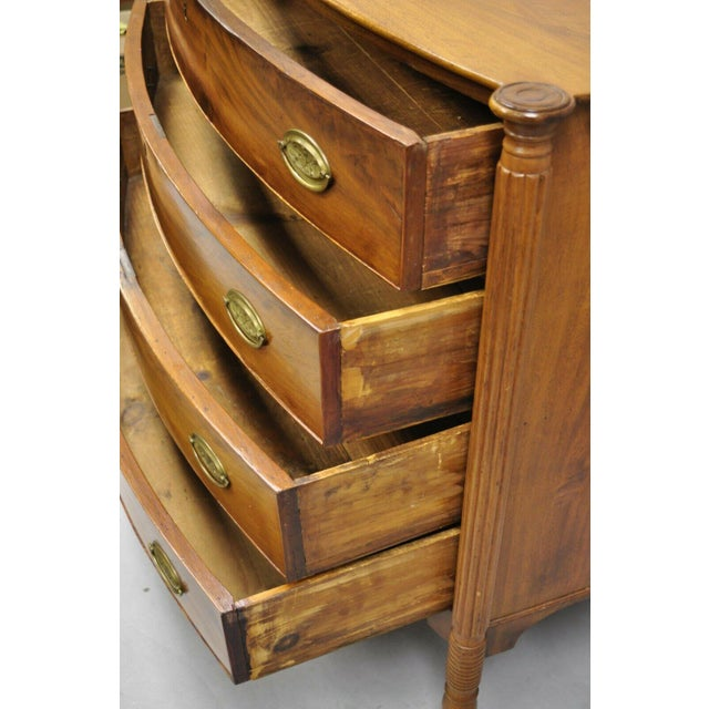 Wood 19th Century Sheraton 4 Drawer Mahogany Bow Front Chest Of Drawers For Sale - Image 7 of 13