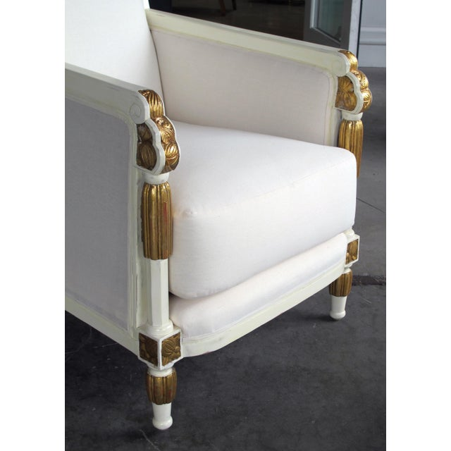 French Art Deco Ivory-Lacquered & Parcel-Gilt Club Chairs-Set of 3 For Sale - Image 4 of 8