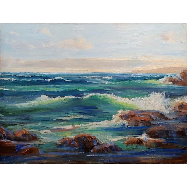 James Arthur Merriam - California Rocky Seascape - Oil painting Impressionist oil painting on canvas circa 1930/40s no...