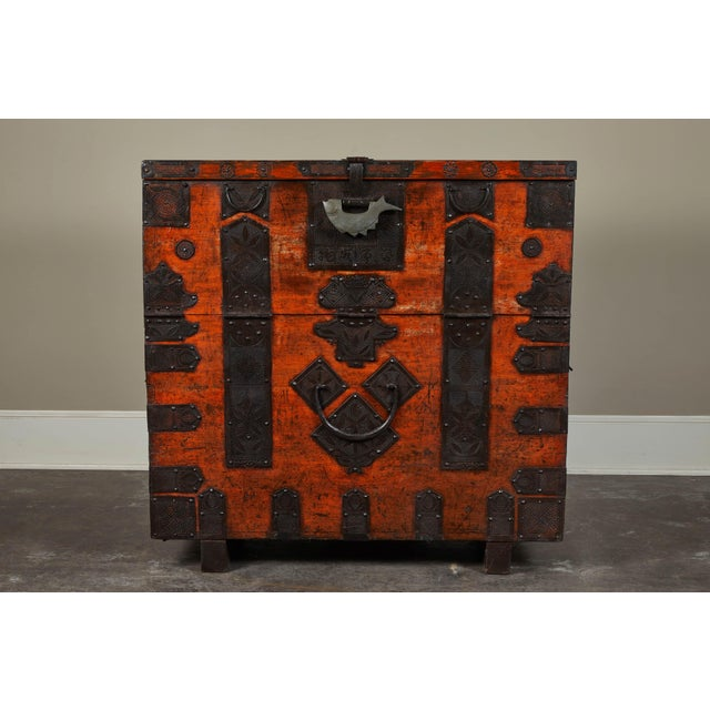 Rare 19th Century Korean Chest. Unusual size makes it a rare piece. Beautiful iron hardware decorate the face and lid....