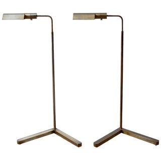 Pair of Casella Brass Adjustable Pharmacy Floor Lamps For Sale