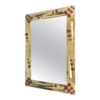 Italian Deco Mirror on Polished Brass W/ Ruby Red Murano Glass, 1980s