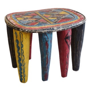 Vintage African Nigerian Hand-Carved & Painted Nupe Stool Bench Table For Sale