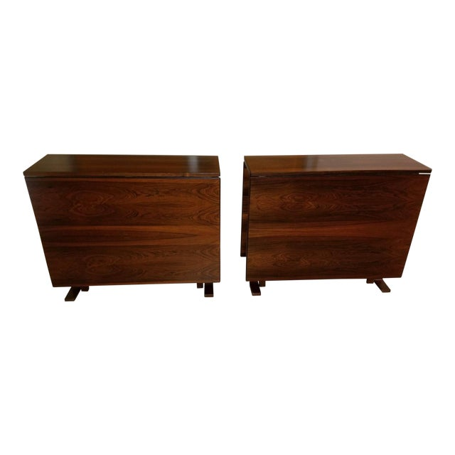 1970s Scandinavian Westnofa Rosewood Drop Leaf Banquet Dining Tables - a Pair For Sale