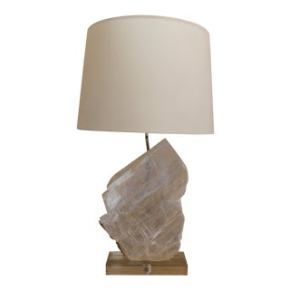 Selenite Stone Lamp With Shade For Sale