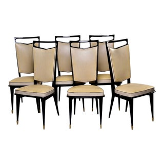 French Modernist Dining Chairs With Black Lacquered Frames, Set of 6 For Sale