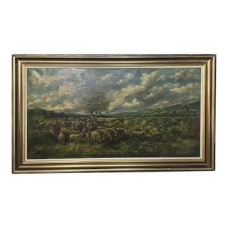 Grand Framed Oil Painting on Canvas by G. Schouten For Sale