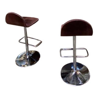 1970s Italian Chrome and Brass Flat Dry Bar & Stools - Set of 3 For Sale