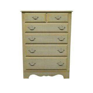 20th Century Shabby Chic Ethan Allen Hand Decorated Six Drawer Chest For Sale