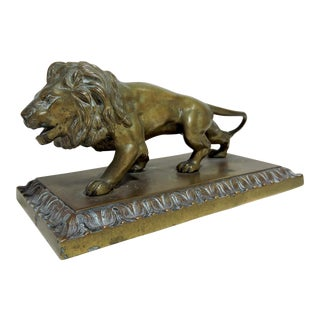 Vintage Bronze Lion Sculpture on Plinth For Sale