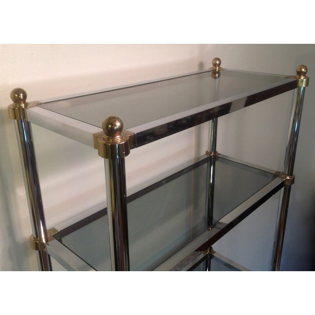 Maison Jansen Etagere, Chrome & Brass Smoked Glass For Sale - Image 10 of 10