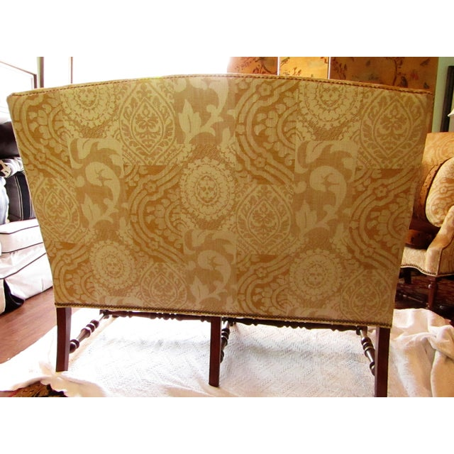 Contemporary Southwood Damask and Chenille Leopard Print Settee with Pillows - 3 Pieces For Sale - Image 4 of 12