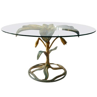 1970s Hollywood Regency Arthur Court Metal Gilded Lily Dining Table For Sale