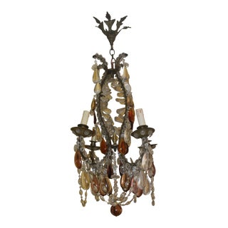 Antique 19thc French Authentic Maison Bagues Louis XV Amethyst/ Amber/ Clear Crystal & Bronze Chandelier C1870 For Sale