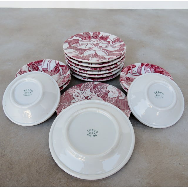 Vintage Tepco Maroon and White Dinnerware - Set of 21 For Sale In Los Angeles - Image 6 of 7