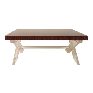 Rosewood & Acrylic Cocktail Table