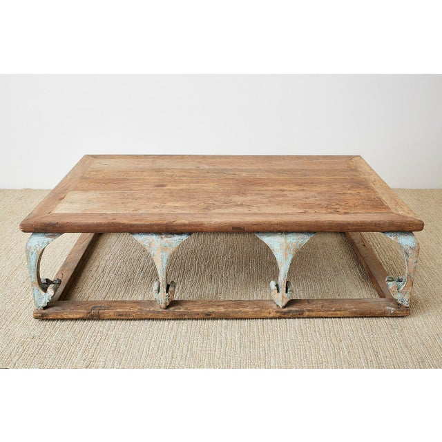 Rustic Monumental Weathered Pine Coffee Cocktail Table For Sale - Image 3 of 13