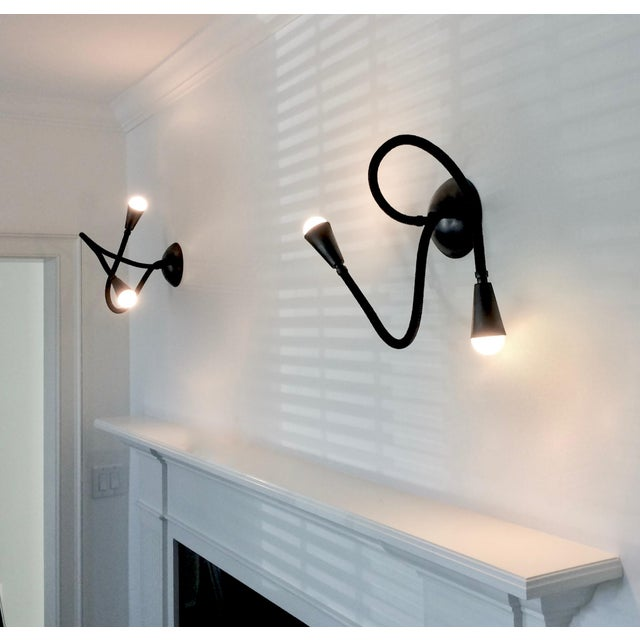 Contemporary Meander Black Leather Flexible Arm Wall Sconce For Sale - Image 3 of 6