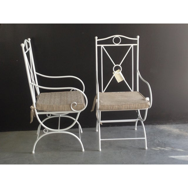 1990s Handmade White Wrought Iron Patio Dining Set For Sale - Image 5 of 6
