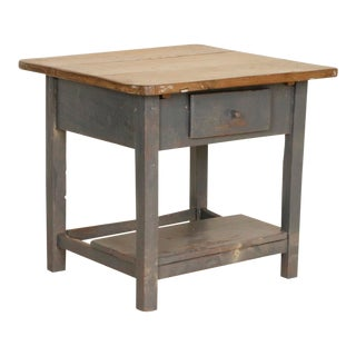 Vintage Original Gray Painted Side Table Nightstand With Drawer and Shelf For Sale