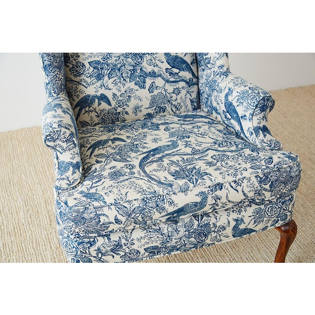 Mid 20th Century Chinoiserie Upholstered Queen Anne Wingback With Ottoman For Sale - Image 5 of 13