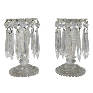 Regency Anglo Irish Cut Glass Lustres - a Pair For Sale