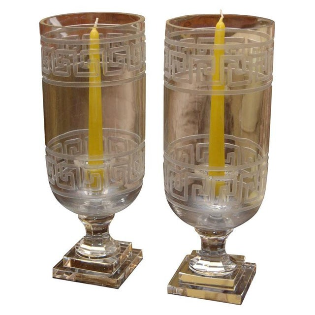 Etched Greek Key Hurricanes - Pair For Sale