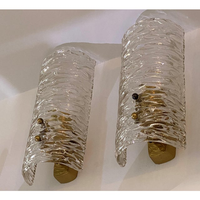 1960s Mid-Century Modern Kalmar Glass Sconces - a Pair For Sale - Image 5 of 9