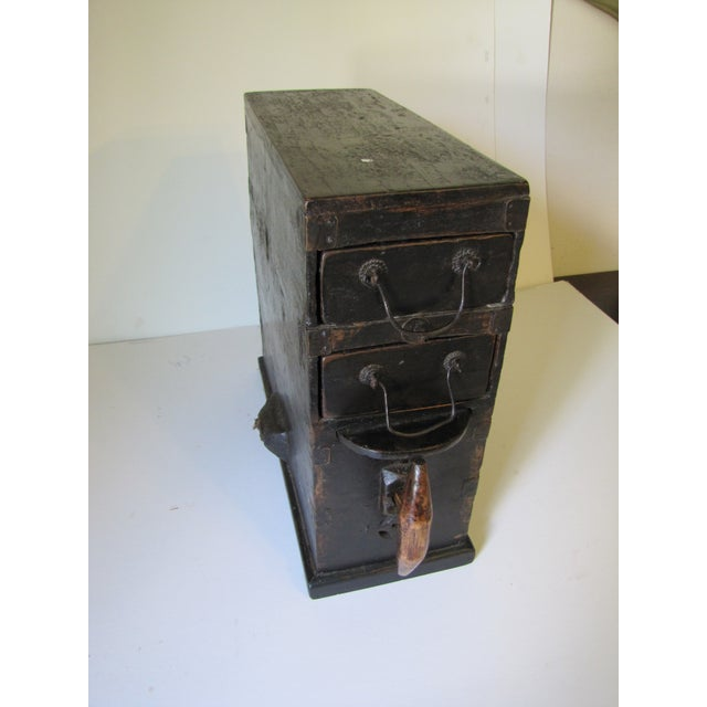 1910s Black Wooden Chinese Bellows Box For Sale - Image 9 of 9