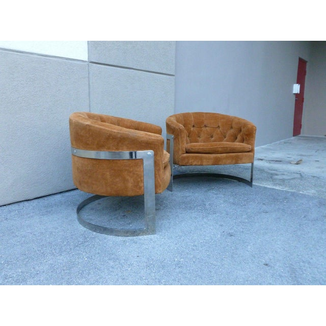 Pair 70's great quality Milo Baughman attribution semicircular half moon chrome lounge chairs sold as found with nice...