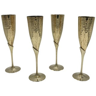 1970s Italian Brass Champagne Flutes, Set of Four For Sale