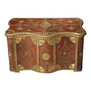Shaped Leather Bound Trunk with Decorative Brass Nailheads and Plating, North Africa, Circa 1950 For Sale